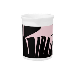 Black and Pink Tropical Banana Leaves Pattern Pitcher