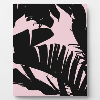 Black and Pink Tropical Banana Leaves Pattern Plaque