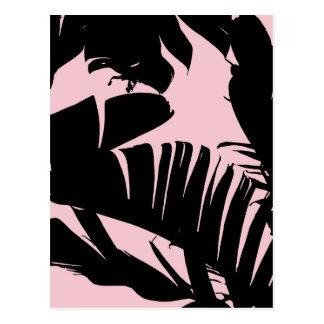 Black and Pink Tropical Banana Leaves Pattern Postcard