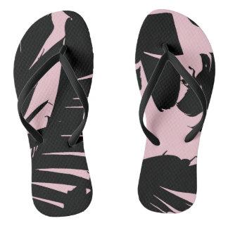 Black and Pink Tropical Banana Leaves Pattern Thongs