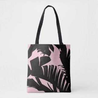 Black and Pink Tropical Banana Leaves Pattern Tote Bag