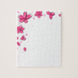 Black and Pink Watercolor Flower Polka Dot Sketch Puzzle