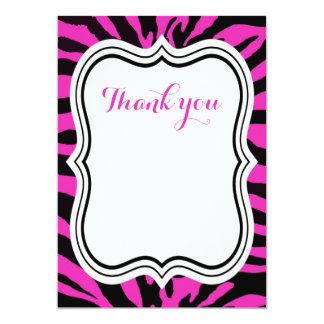 Black and pink zebra jungle animal girl thank you card