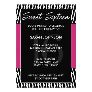 Black and Pink Zebra Pattern Sweet 16 Birthday Personalized Invites