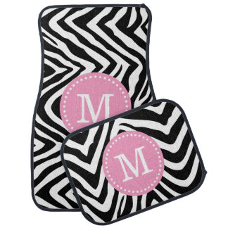 Black and Pink Zebra Print Custom Monogram Floor Mat