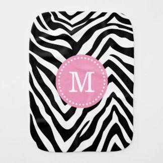 Black and Pink Zebra Stripes Custom Monogram Baby Burp Cloths