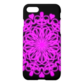 Black and Purple abstract heart lace design. iPhone 8/7 Case