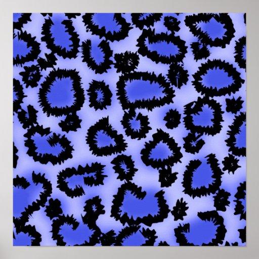 Black and Purple-Blue Leopard Print Pattern.