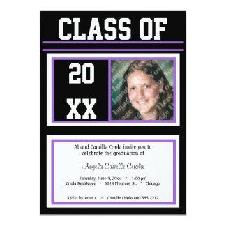 Black and Purple Class Photo Graduation Party 13 Cm X 18 Cm Invitation Card