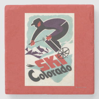 Black and Purple Clothed Skier Stone Coaster