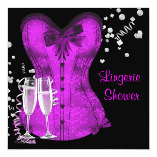 Black and Purple Corset Bachelorette Bridal Shower 13 Cm X 13 Cm Square Invitation Card