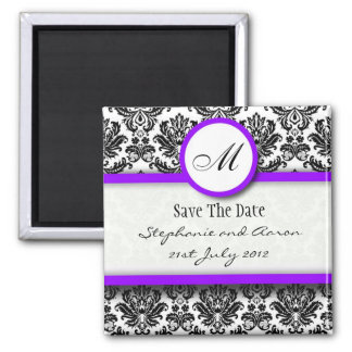 Black and Purple Damask Monogram Save The Date Magnets