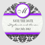 Black and Purple Damask Monogram Wedding Sticker