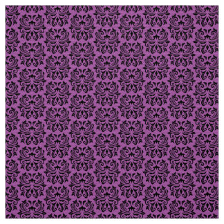 Black and purple damask pattern Halloween Fabric