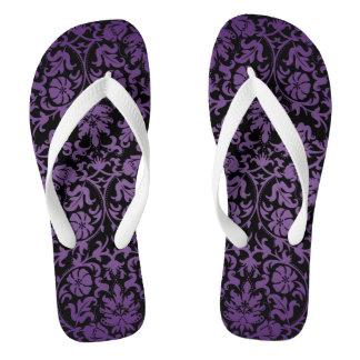 Black and Purple Damask Thongs