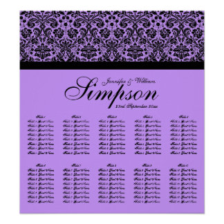 Black and Purple Damask Wedding Seating Chart Posters
