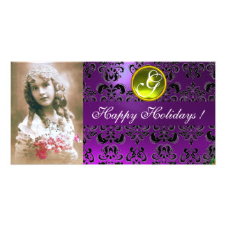 BLACK AND PURPLE DAMASK Yellow Topaz Monogram Personalized Photo Card