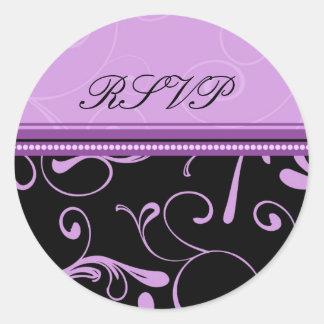 Black and Purple Floral RSVP Envelope Seals Round Sticker