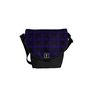 Black and Purple Geometric Floral Pattern Courier Bag