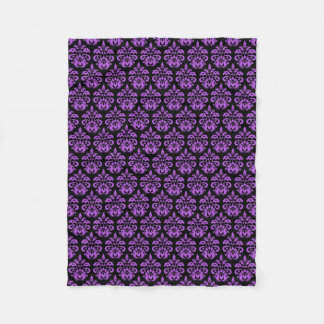 Black and purple gothic victorian damask fleece blanket