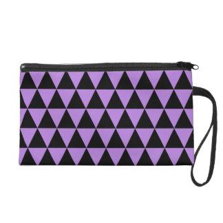 Black and Purple Lavender Geometric Triangles Wristlet