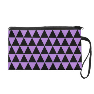 Black and Purple Lavender Geometric Triangles Wristlet Clutch