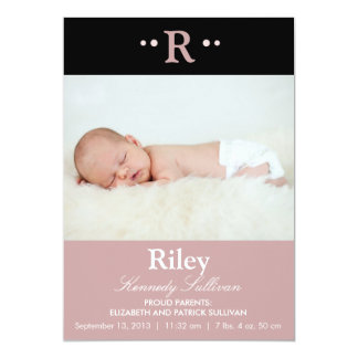 Black and Purple Modern Photo Birth Announcement