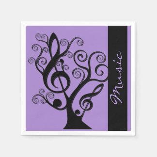 Black and Purple Music Treble Clef Tree Napkins Disposable Serviette