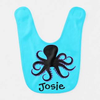 Black and Purple Octopus Character Baby Bib