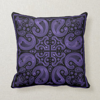 Black and Purple Paisley Mandala Throw Pillow