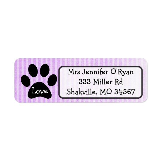 Black and Purple Paw Print Return Address Label