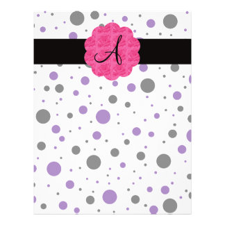 Black and purple polka dots monogram 21.5 cm x 28 cm flyer