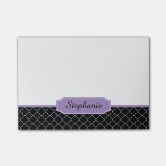 Black and Purple Quatrefoil Monogram Sticky Notes