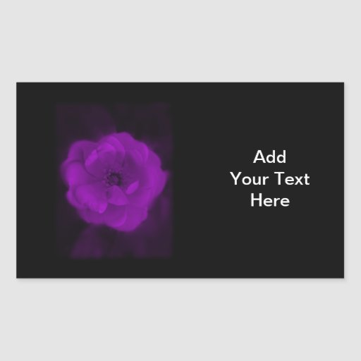 Black and Purple Rose. Rectangular Stickers