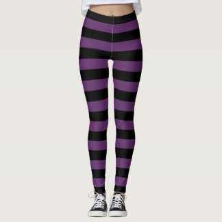 Black and Purple Striped Goth Leggings