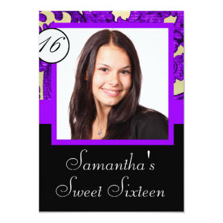 "Black and purple sweet sixteen 4.5"" x 6.25"" invitation card"