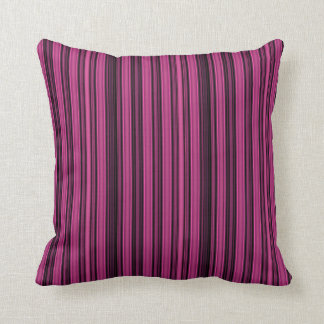 Black and Raspberry Coloured Stripe Cushion