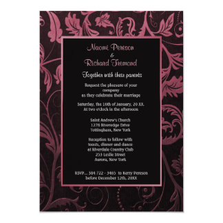 Black and Raspberry Damask Wedding Invitation