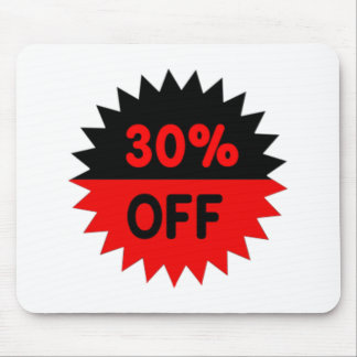 Black and Red 30 Percent Off Mouse Pad