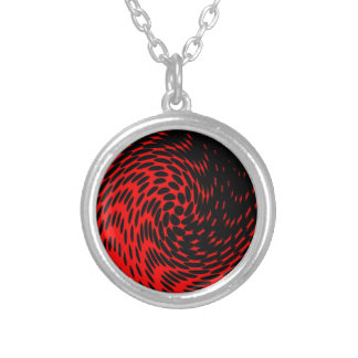 Black and Red Abstract Design Silver Plated Necklace