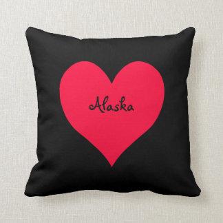 Black and Red Alaska Heart Cushion