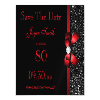 Black and Red Any Age Birthday Save The Date Magnetic Card
