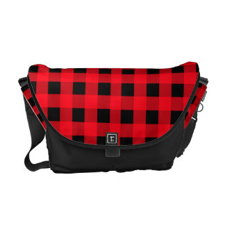 Black and Red bag PLaid Courier Bags