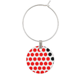 Black and red balls wine charms