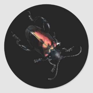 Black and Red Beetle bug Round Sticker