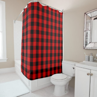 Black and Red Buffalo Check Pattern Shower Curtain