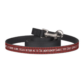 Black and Red Buffalo Check with Name and Address Pet Lead