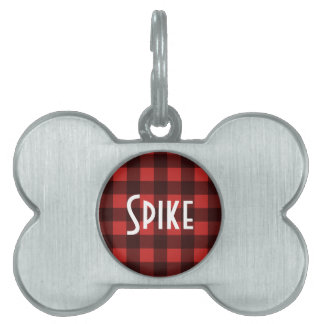 Black and Red Buffalo Check with Name Pet Name Tag