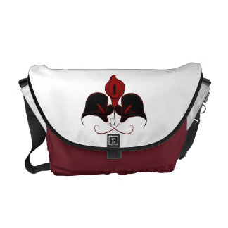 Black and Red Calla Lily Vector Design Messenger Bags
