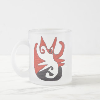 Black and Red Cat Frosted Glass Coffee Mug
